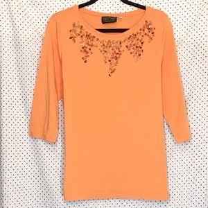 Bob Mackie Embellished 3/4 Sleeve Stretch Blouse